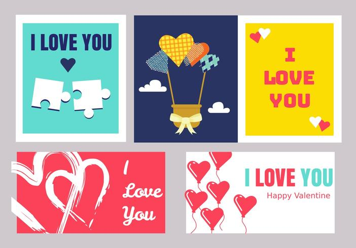 Valentinstag Karten Vector Pack