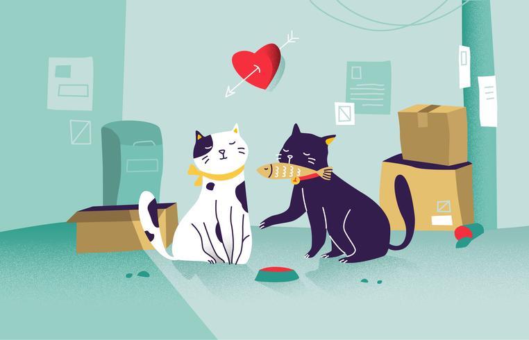 Cat True Love Paar-Vektor-Illustration vektor