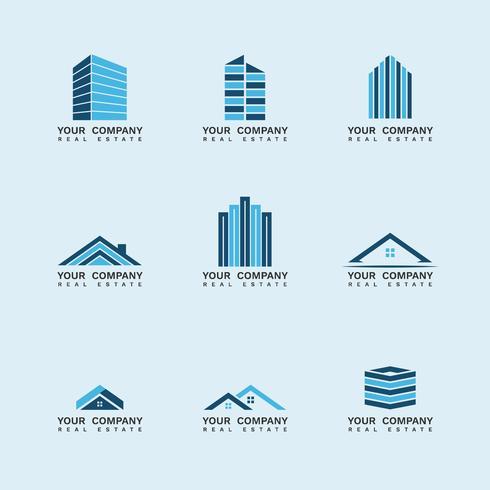 Bygga fastighetsstäder med logotyp vektor