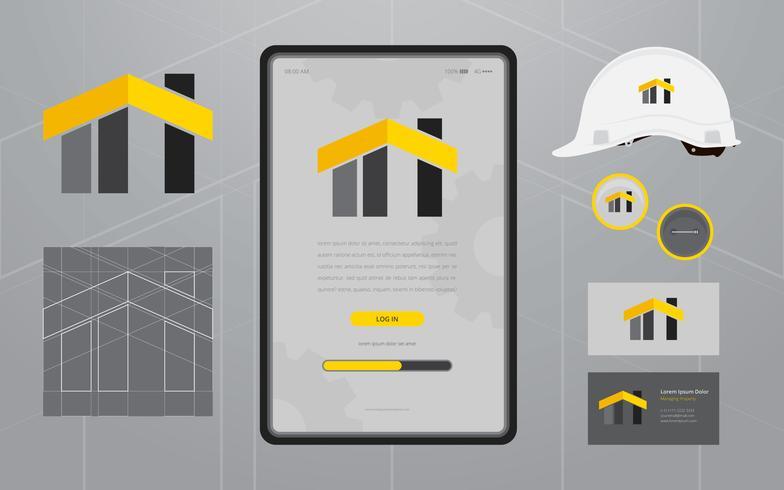 Bau Logos in Briefpapier Set Media. Bauunternehmen Profil Vorlage. vektor