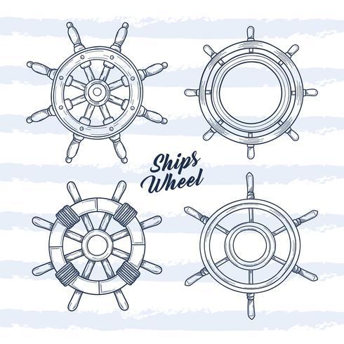 Schiff Rad Hand gezeichnete Illustration vektor