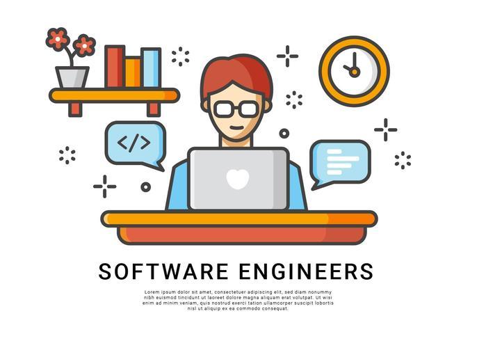 Programvaruteknikare arbetar hemma-vektor vektor