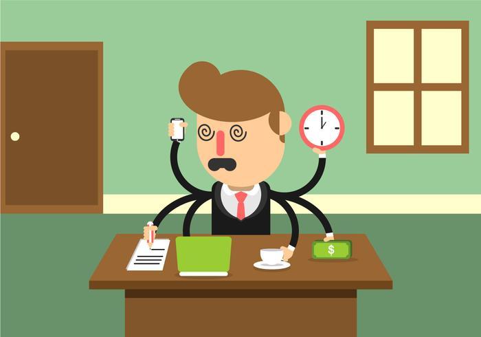 Multitasking betonter Geschäftsmann vektor