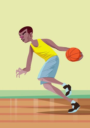 Übertriebene Basketballspieler-Aktion vektor