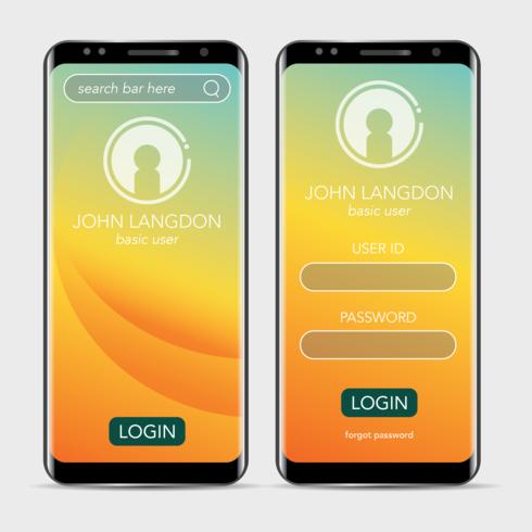 Minimalism-Landing-Seite und Anmeldeseite für mobile Anwendung bereinigen vektor