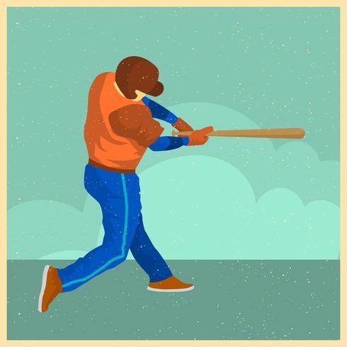Flache Weinlese-Baseball-Spieler-Vektor-Illustration vektor