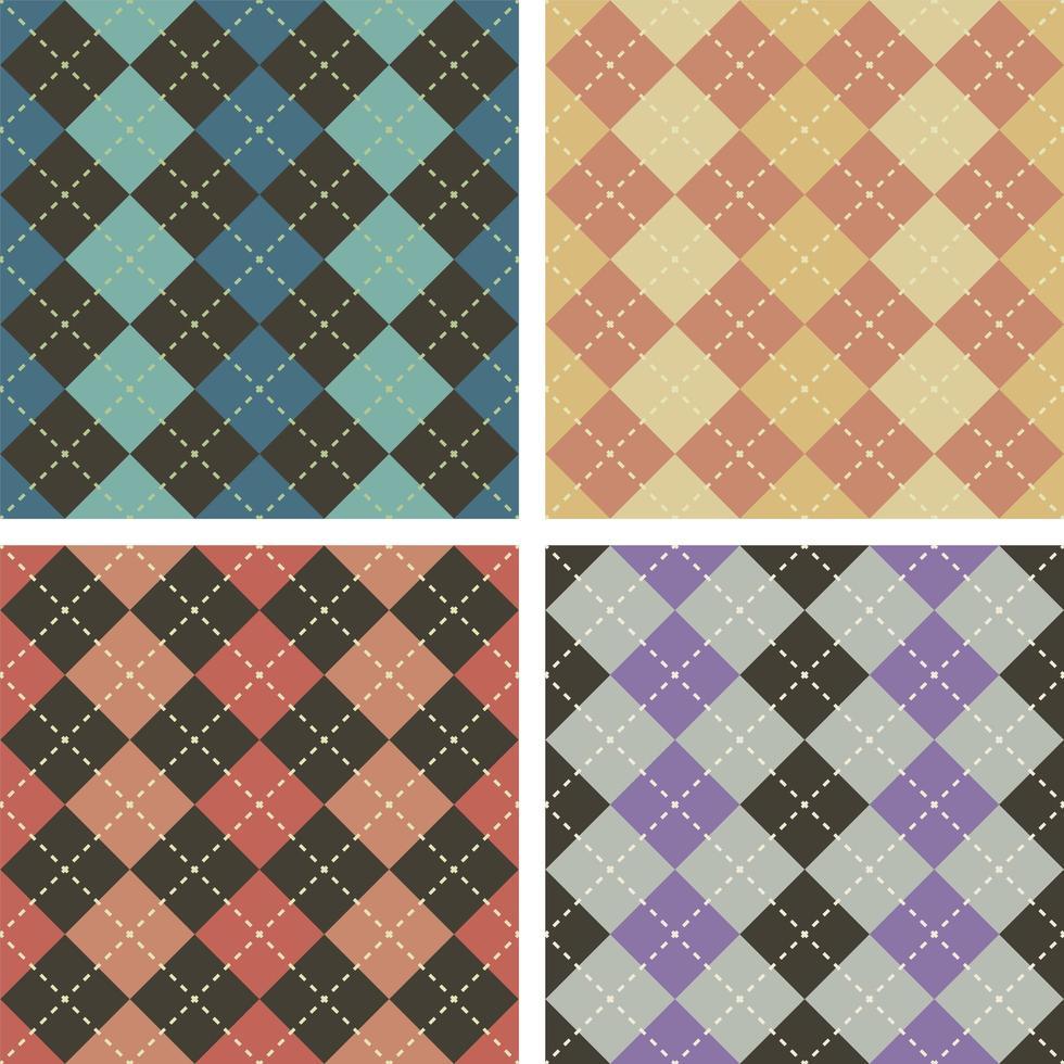 argyle sömlösa mönster set vektor