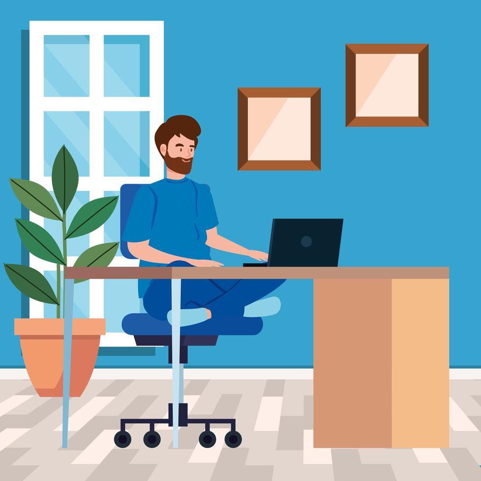 man som arbetar med en bärbar dator på skrivbordet vektor