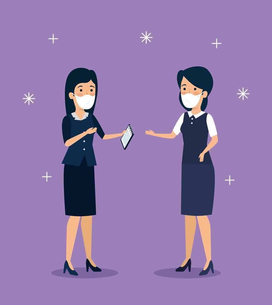 affärskvinnor med ansiktsmasker vektor