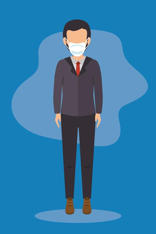 affärsman med ansiktsmask på en blå bakgrund vektor