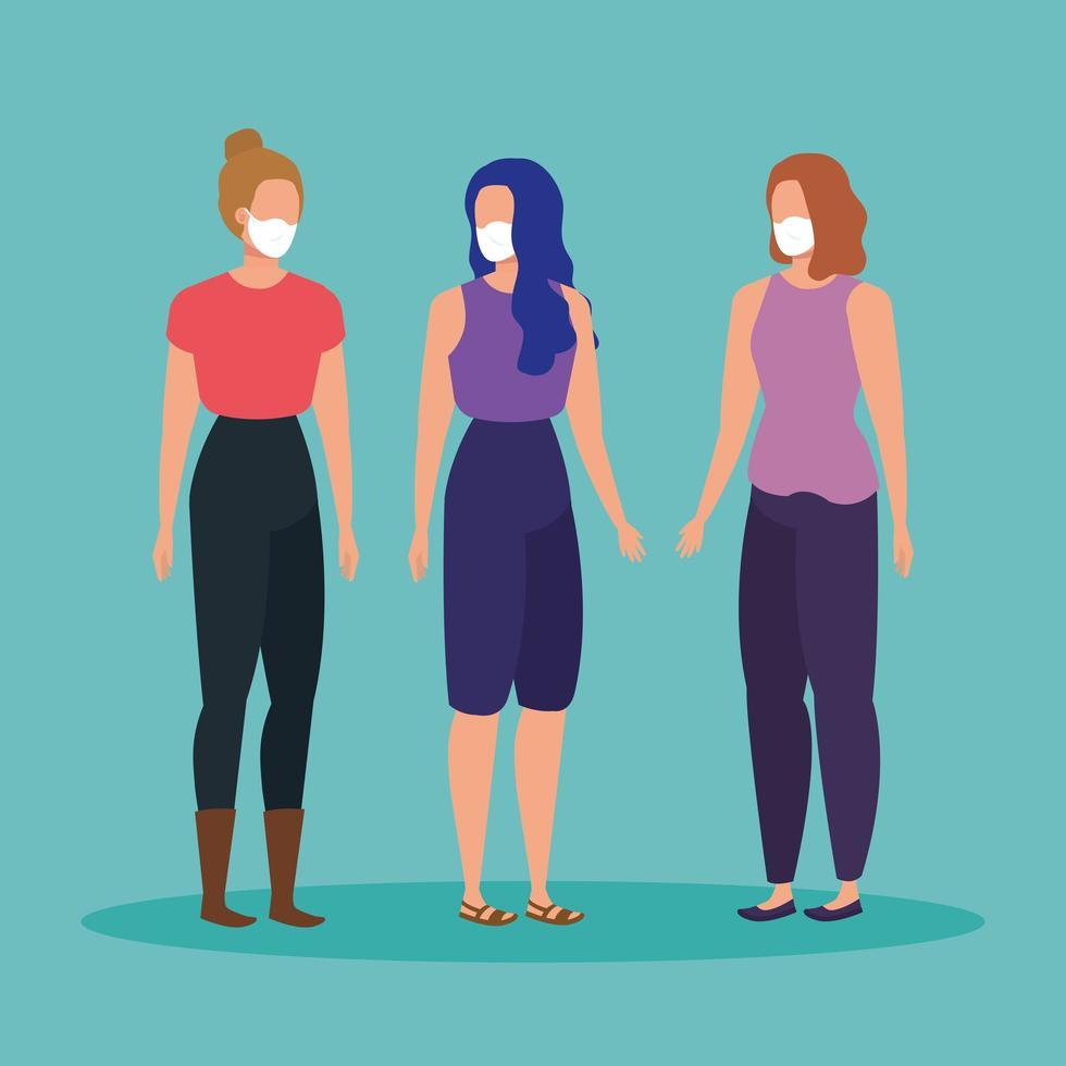 unga kvinnor med ansiktsmasker vektor