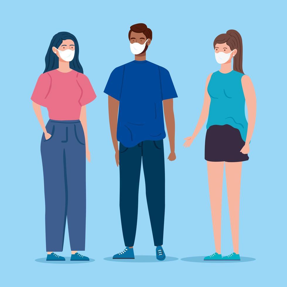 unga människor med ansiktsmasker vektor