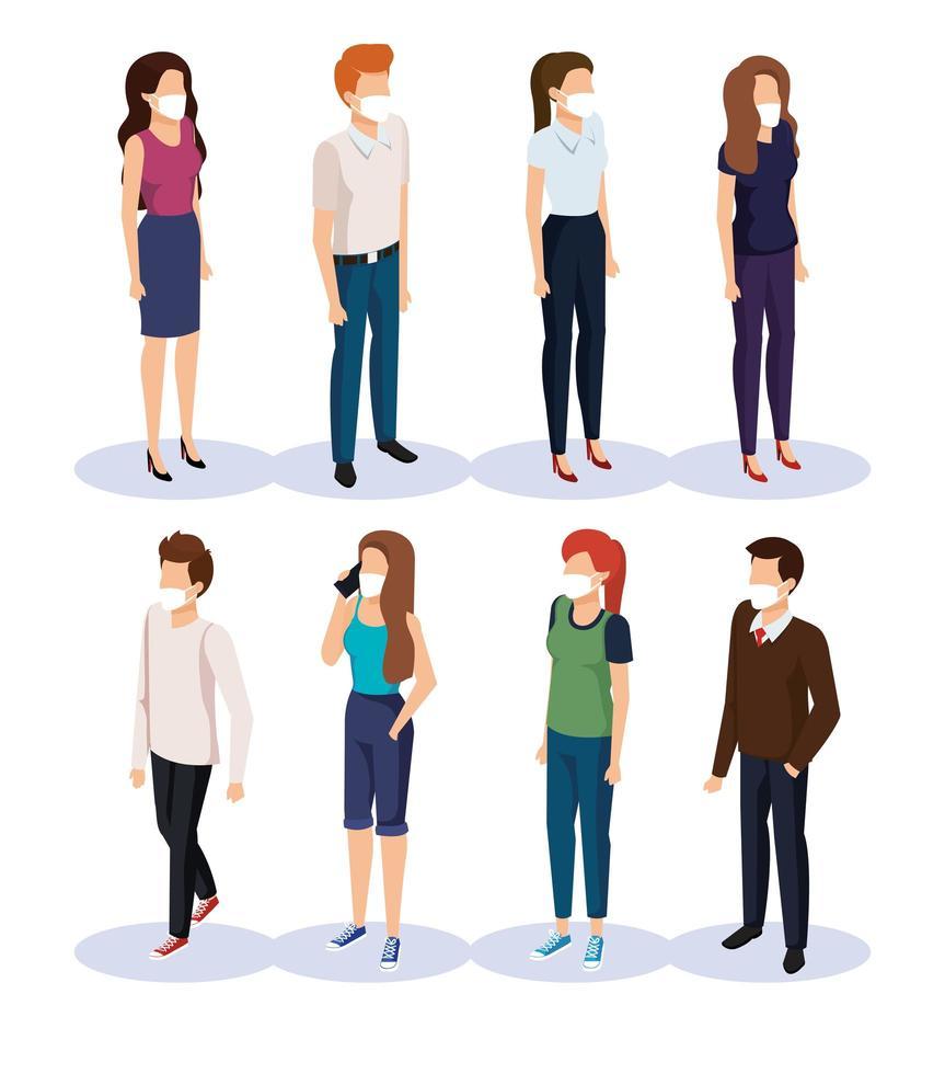 ungdomar med ansiktsmasker avatar karaktärer vektor