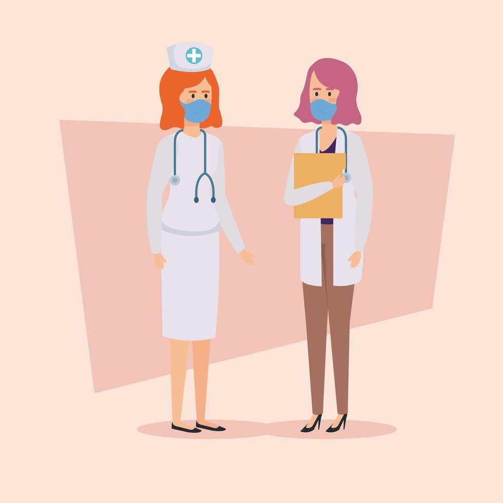 läkare och sjuksköterska med ansiktsmasker vektor
