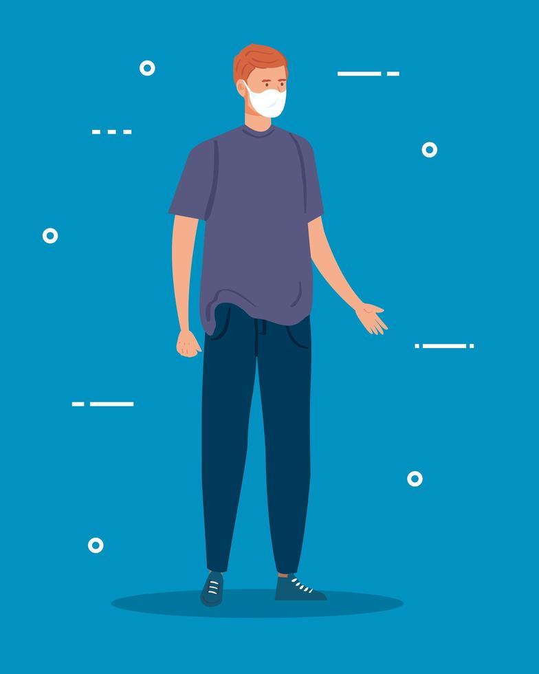 ung man med en ansiktsmask vektor