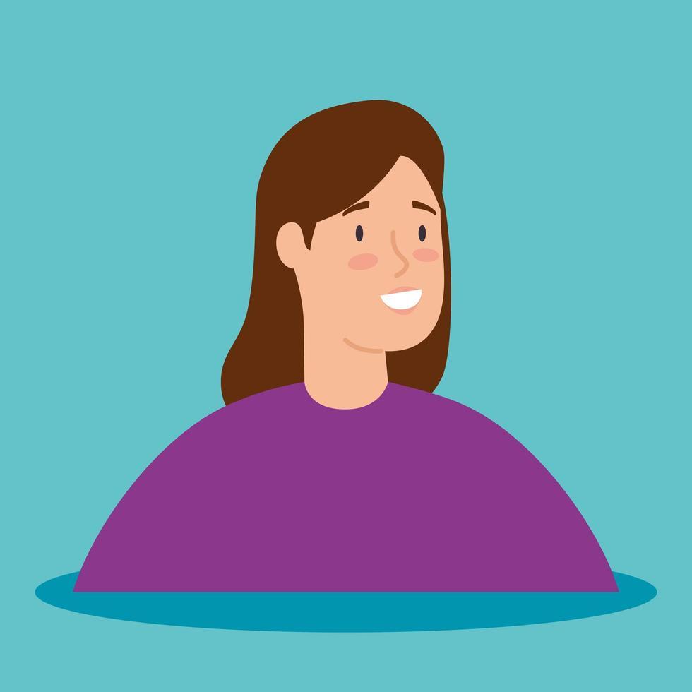 ung kvinna avatar karaktär vektor