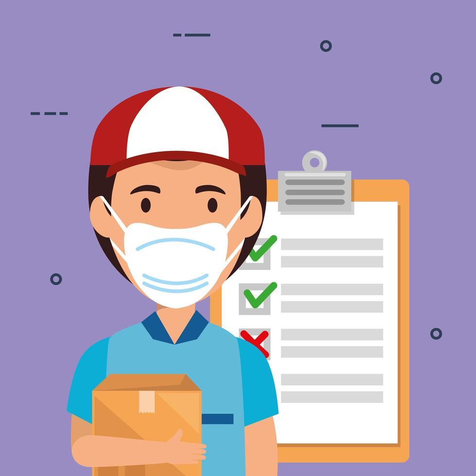 leverans arbetare bär en ansiktsmask med paketet och Urklipp vektor