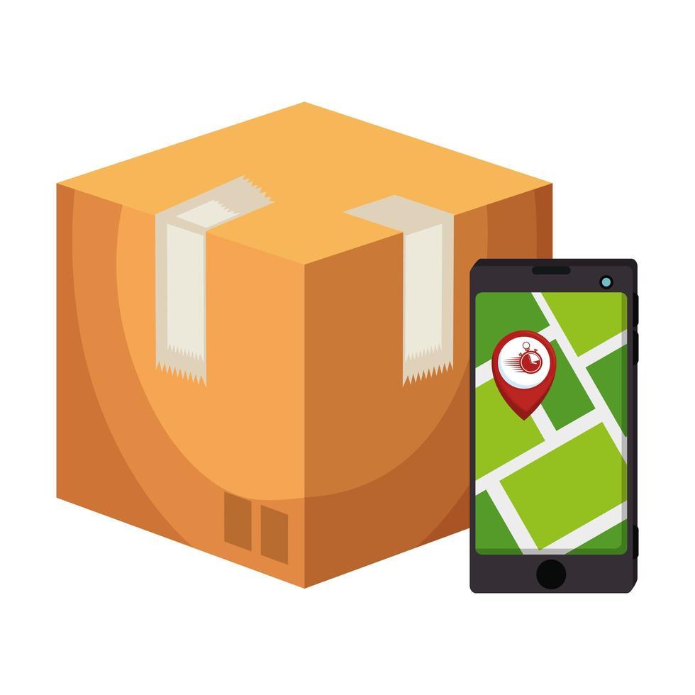 låda med smartphone och platsapp vektor