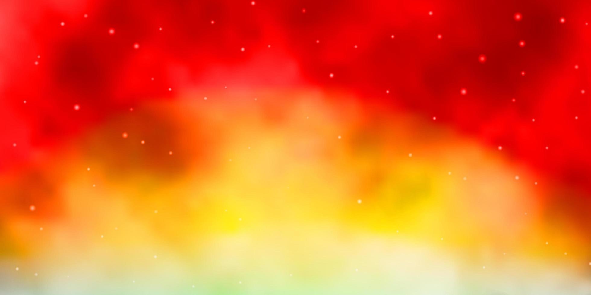 hellblauer, roter Vektorhintergrund mit kleinen und großen Sternen. vektor