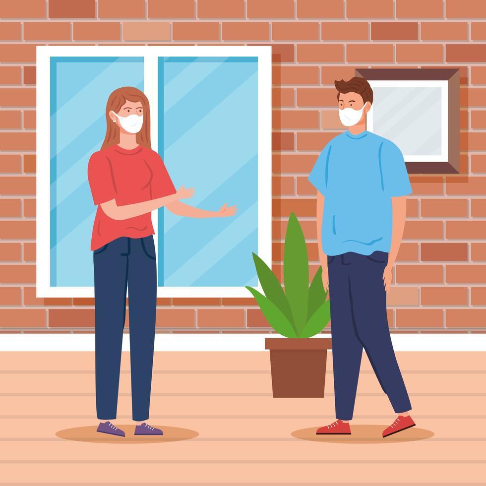 ungt par med ansiktsmasker, inomhushusplats vektor