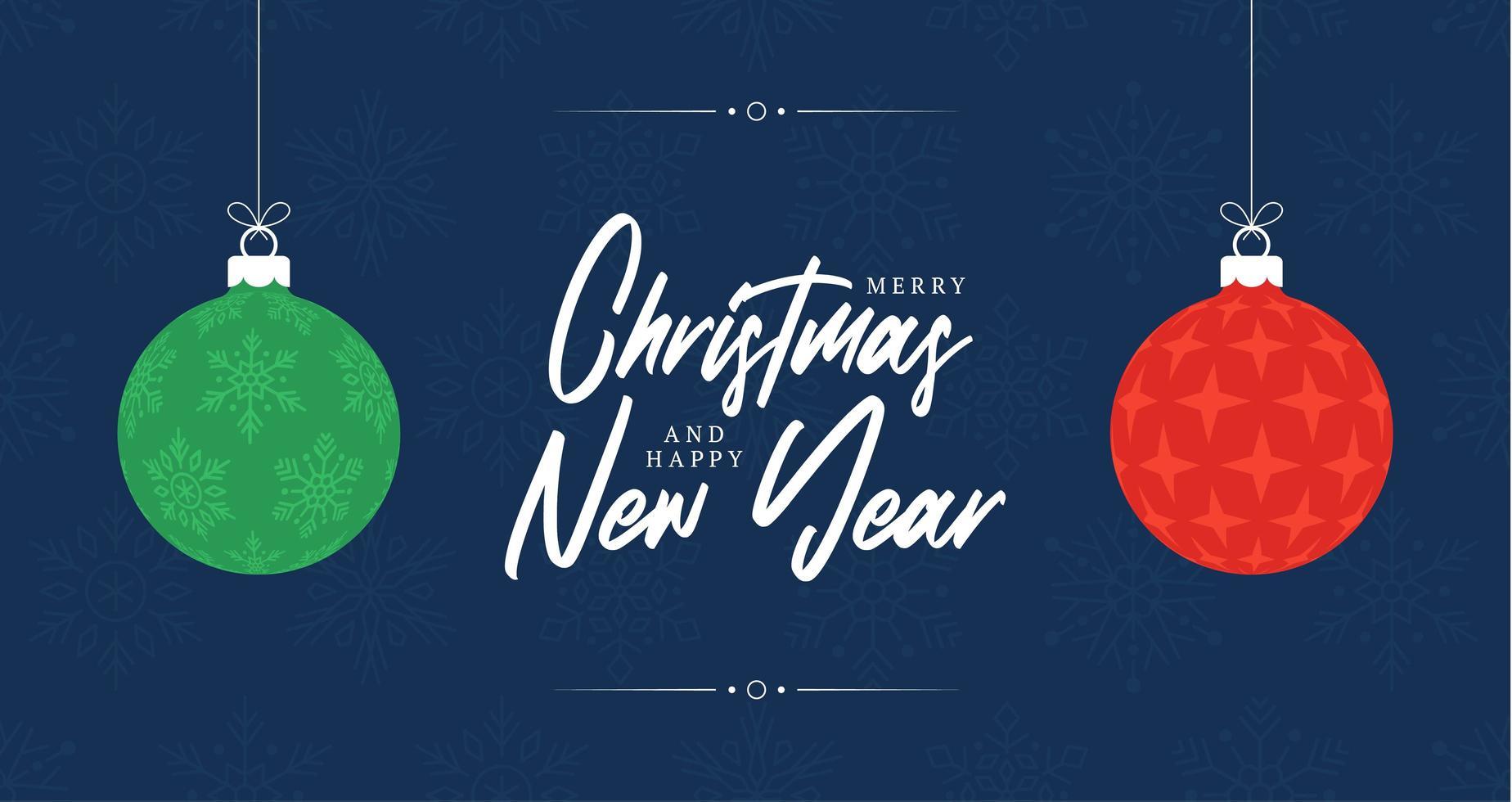 jul gratulationskort. retro jul eller nyårskort med två bollar röd och grön färg med stjärnform och snöflinga inuti. vektorillustration i platt stil vektor