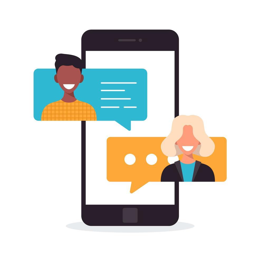 Leute, die auf dem Handy chatten. multikulturelles Kommunikationskonzept. Chat-Benachrichtigung am Telefon, Nachrichten sprudeln mit Avataren auf dem Bildschirm. Karikatur flache Vektorillustration. vektor