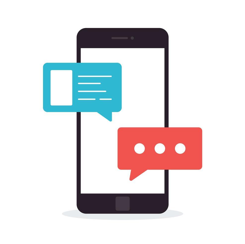 konceptet för en mobilchatt eller konversation av människor via mobiltelefoner. kan användas för att illustrera globalisering, anslutning, telefonsamtal eller sociala medier. vektor