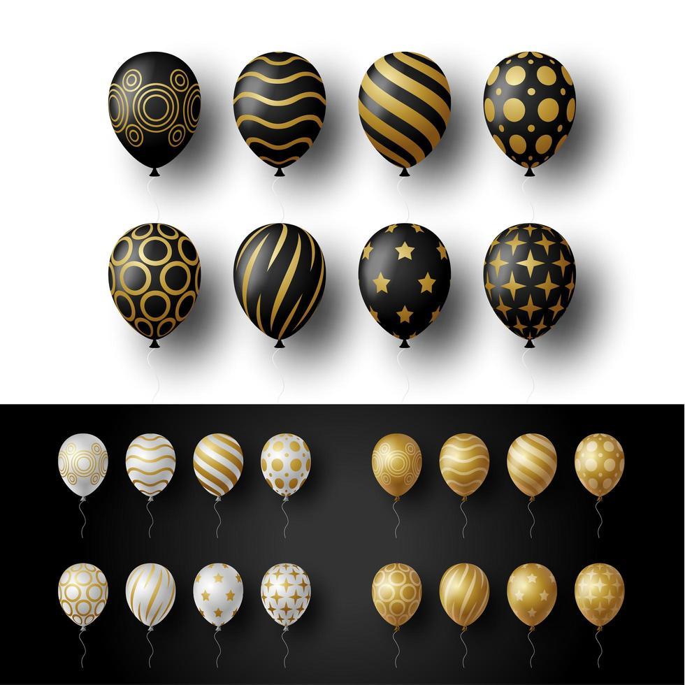 Ballonsatz lokalisiert auf weißem und schwarzem Hintergrund. Vektor realistische goldene, goldene, silberne und schwarze festliche 3d Heliumballons Vorlage für Jubiläum, Geburtstagsfeier Design.