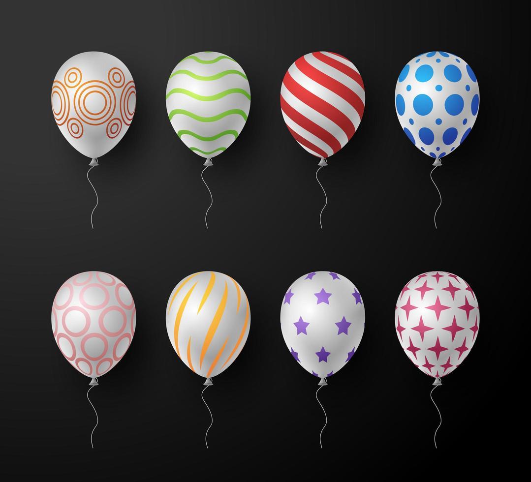 uppsättning realistiska utsmyckade dekorativa vektor färgglada ballonger isolerad på svart bakgrund. vektor insamling