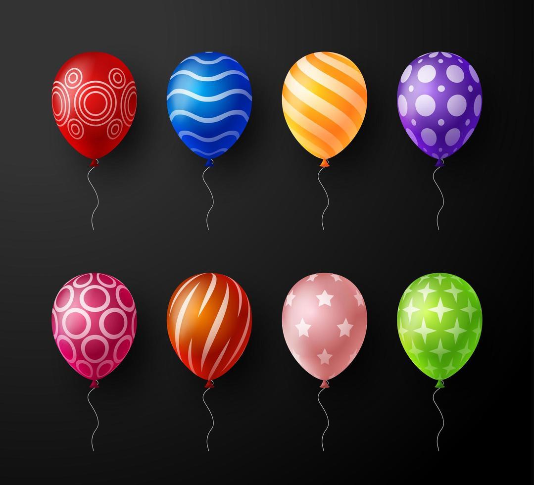 Satz realistische verzierte dekorative Vektor bunte Luftballons lokalisiert auf schwarzem Hintergrund. Vektorsammlung
