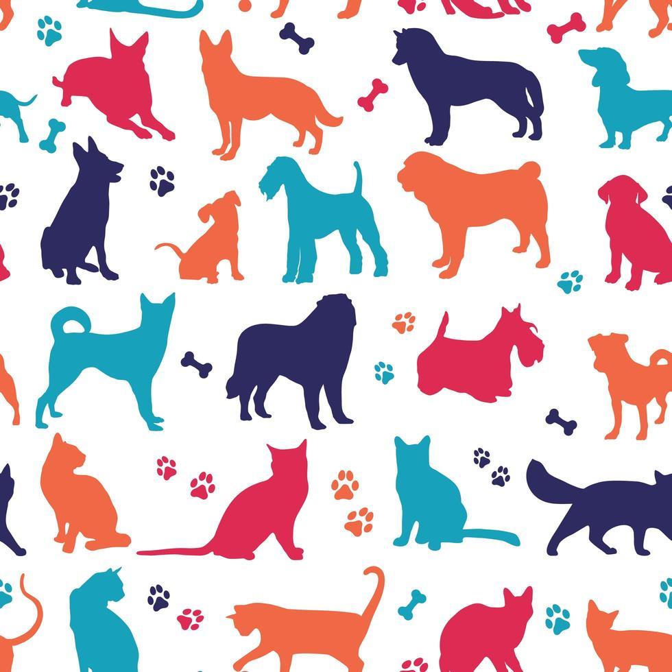 Satz schöne Farben Katzen und Hunde Hintergrund vektor