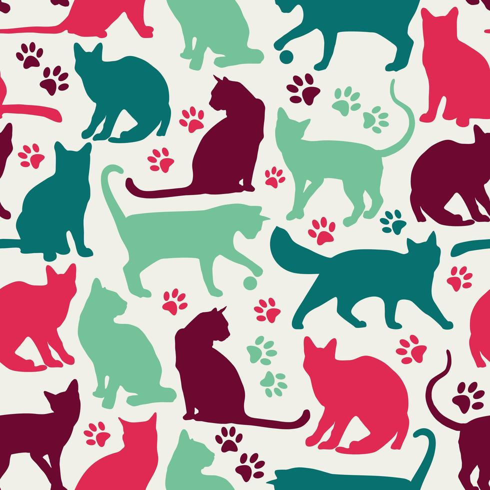 nahtloses Muster des Katzenhintergrunds vektor