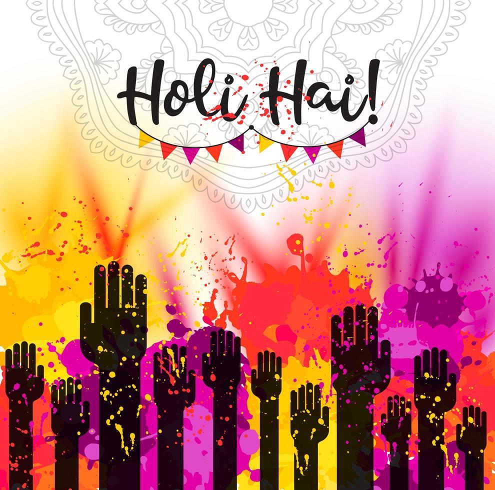 akvarell handritad glad holi firande kort vektor