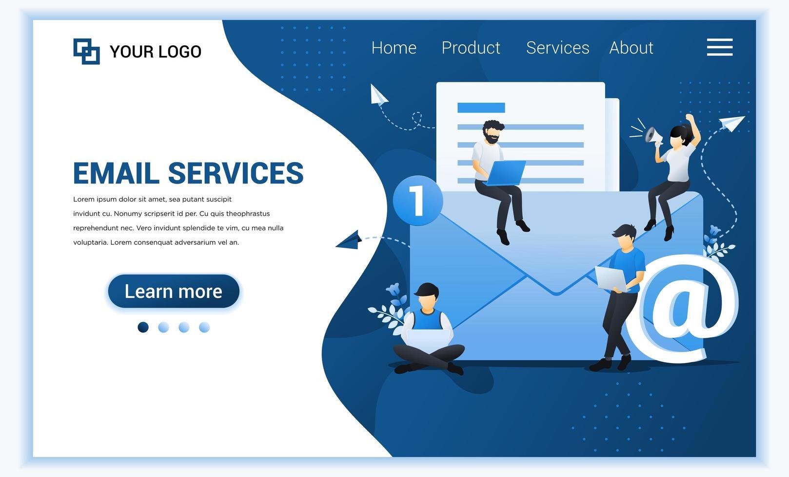 målsidesmall för e-postmarknadsföring, posttjänster med tecken. modernt platt webbdesignkoncept för webbplats och mobilwebbplats. vektor illustration