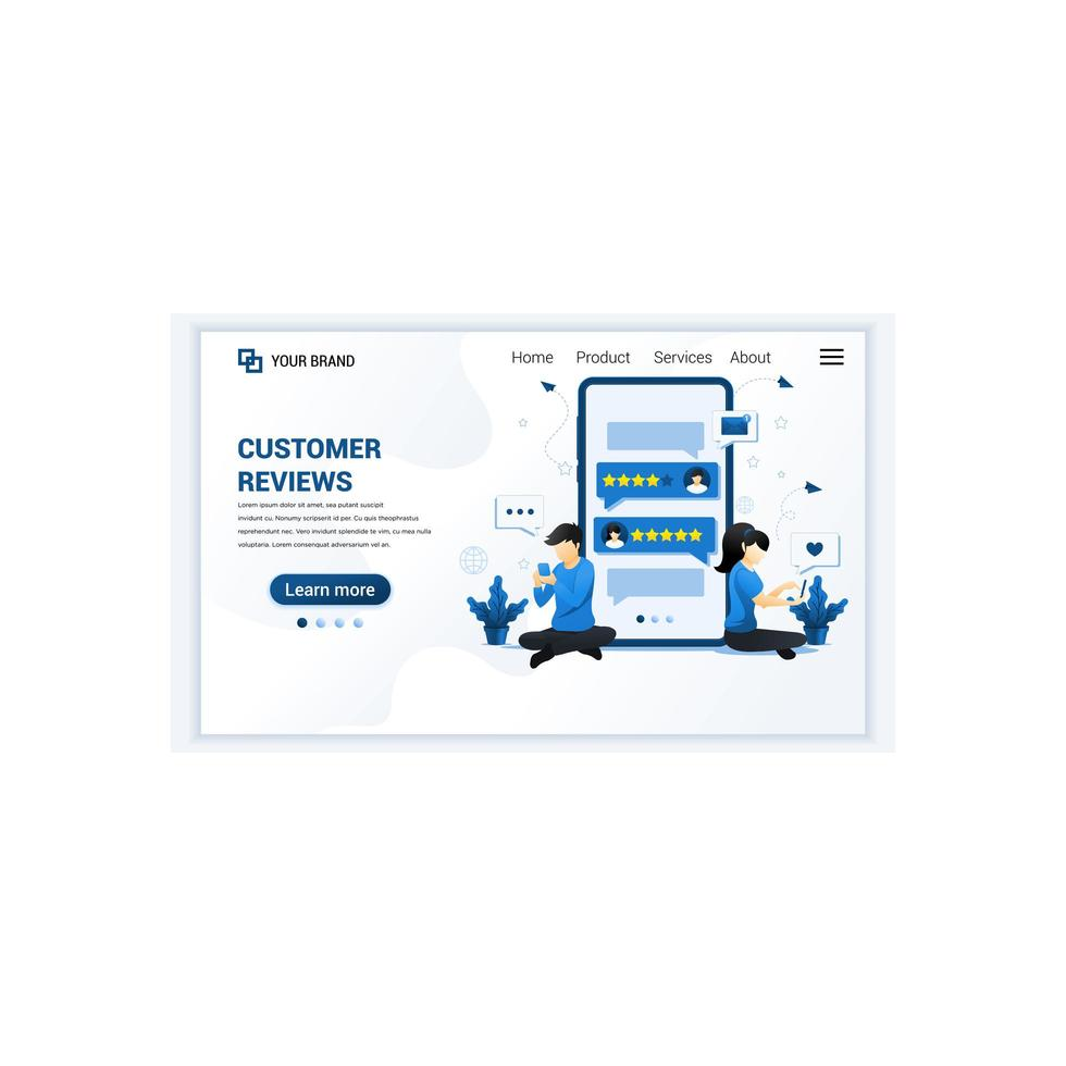kundrecensioner koncept med karaktärer. positiv feedback, tillfredsställelse och utvärdering för produkt eller tjänster. modern platt målsidesmall design för webbplats. vektor illustration