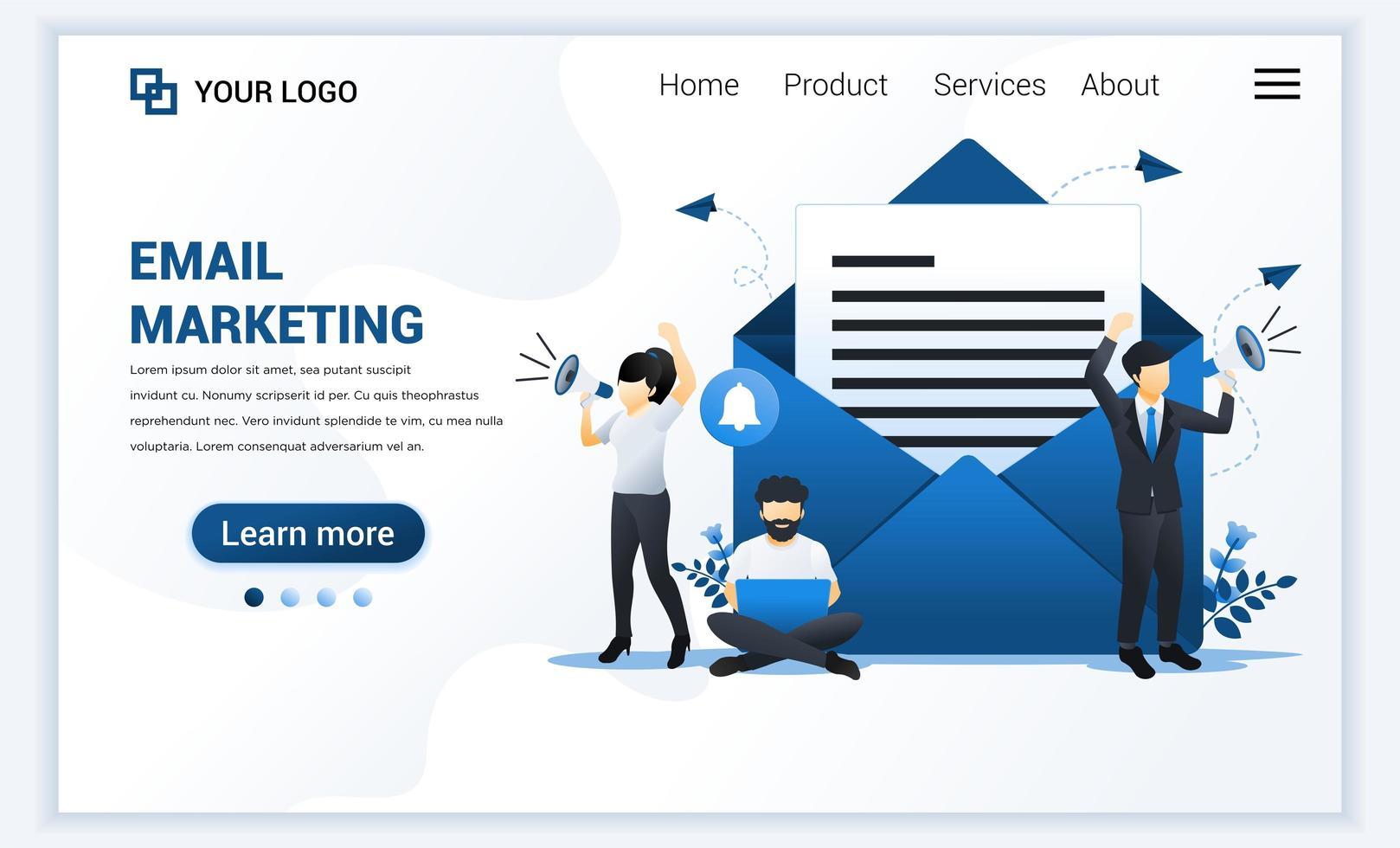 målsidesmall för e-postmarknadsföringstjänster med affärsman som ropar på megafon för marknadsföring. modernt platt webbdesignkoncept för webbplats och mobilwebbplats. vektor illustration