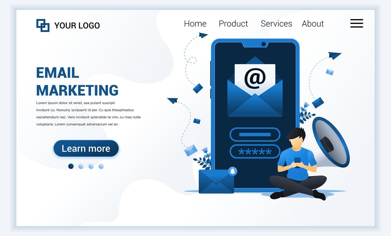 Landingpage-Vorlage von E-Mail-Marketing-Diensten mit einem Mann, der in der Nähe des riesigen Smartphones sitzt. modernes Designkonzept für flache Webseiten für Websites und mobile Websites. Vektorillustration vektor