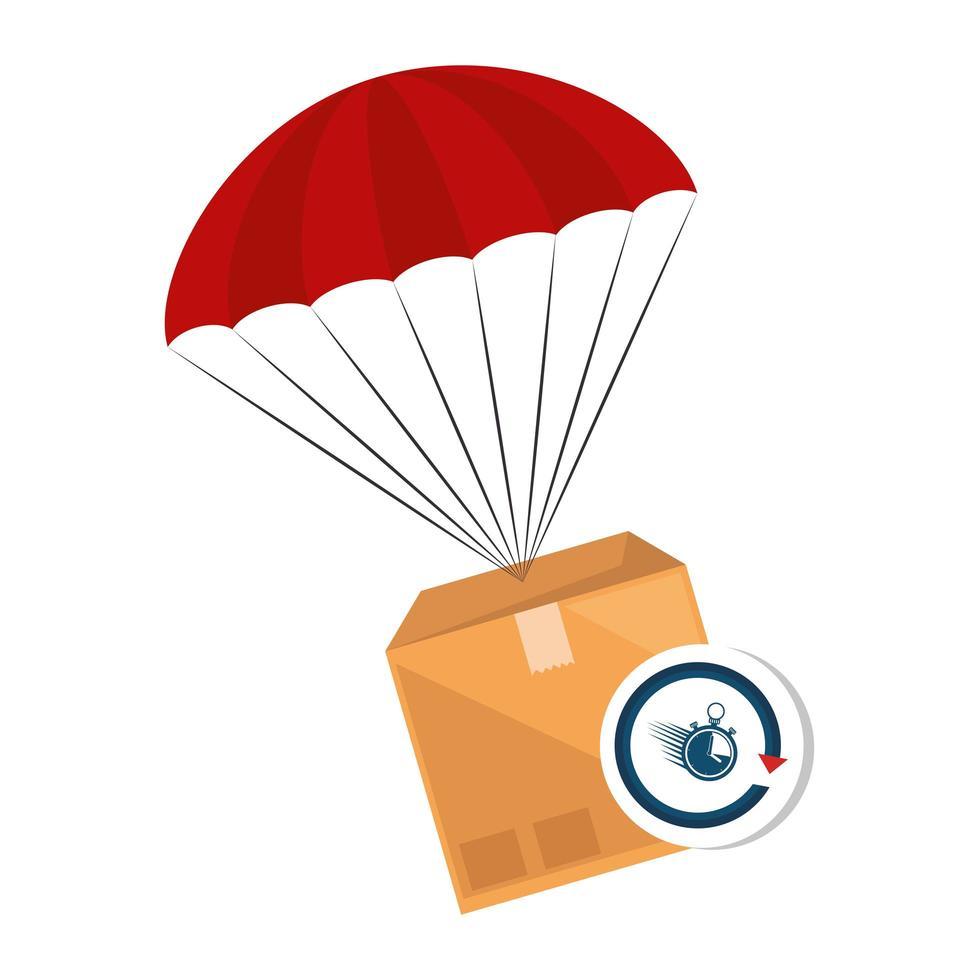 Paketbox mit Fallschirm und Stoppuhr vektor