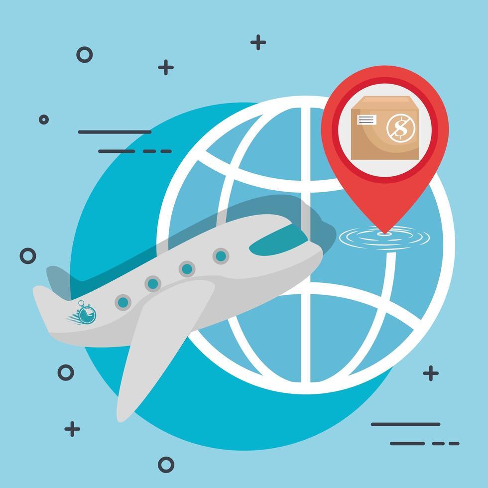 Lieferung und Logistik per Luftfahne vektor