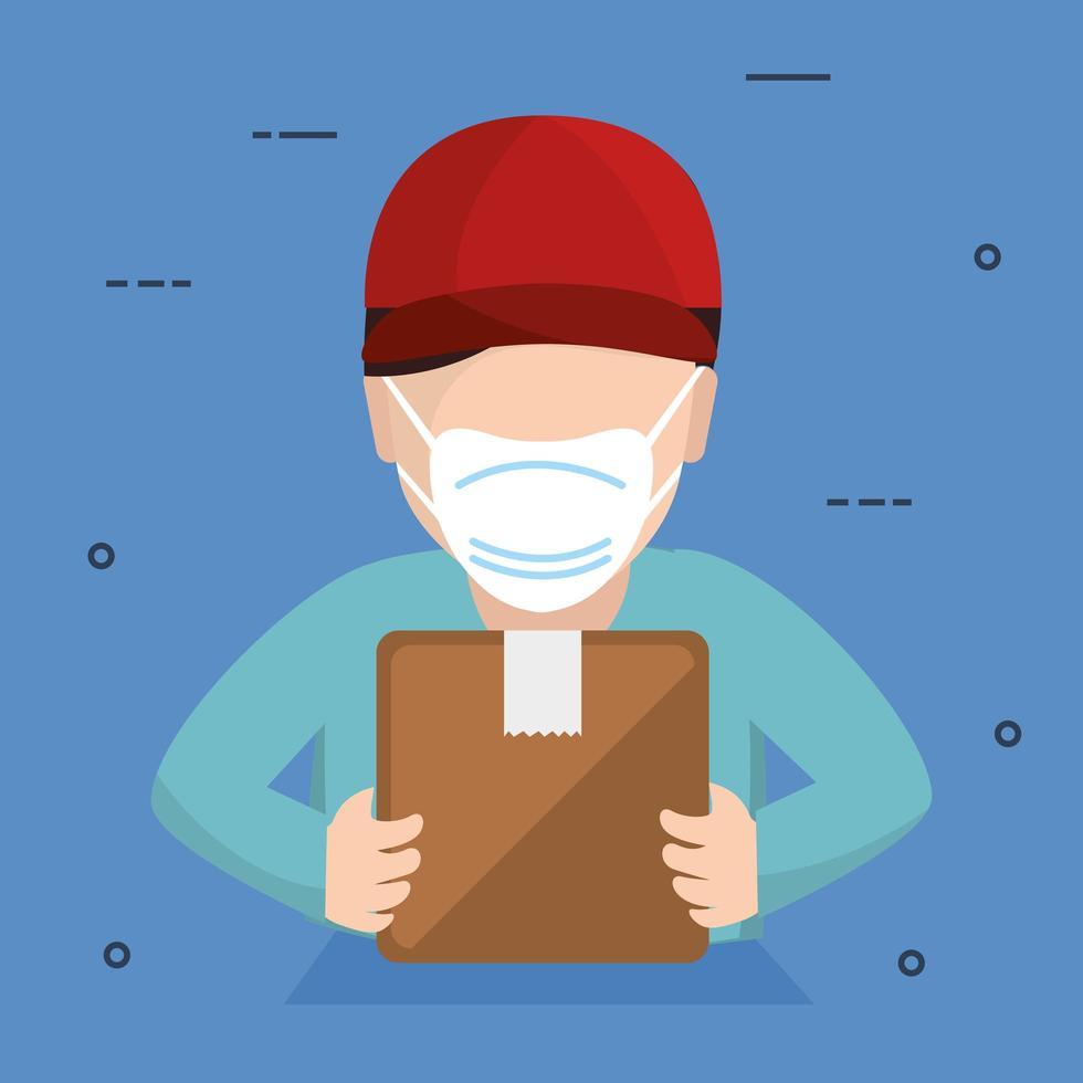 Lieferarbeiter mit Gesichtsmaske hält ein Paket vektor