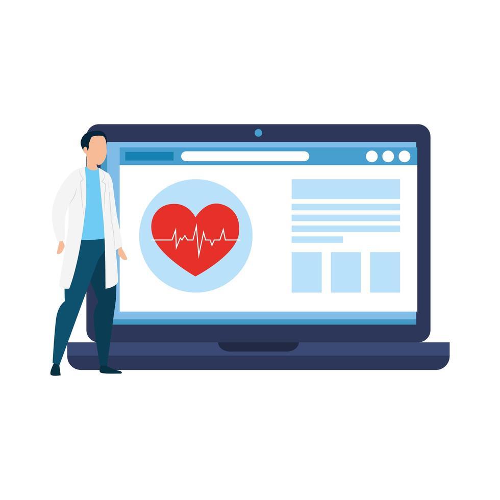 Online-Medizin mit Arzt auf dem Laptop vektor