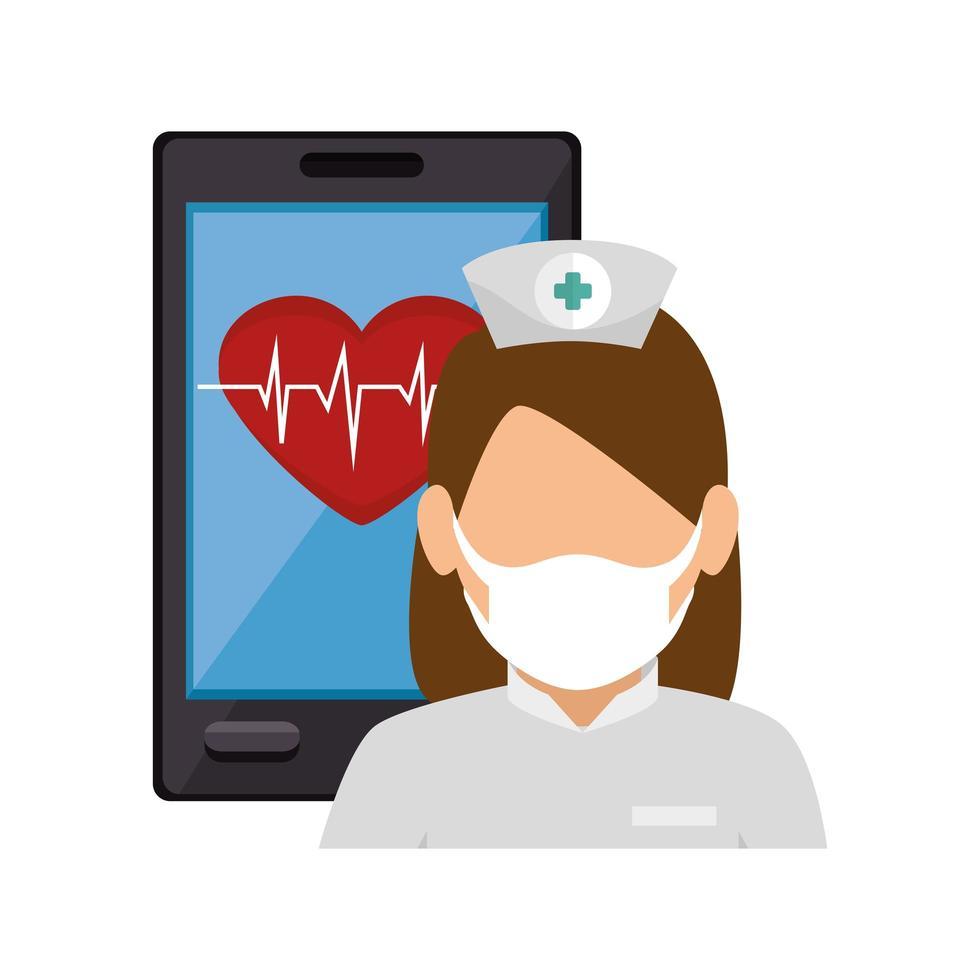 onlinemedicin med sjuksköterska på smarttelefonen vektor