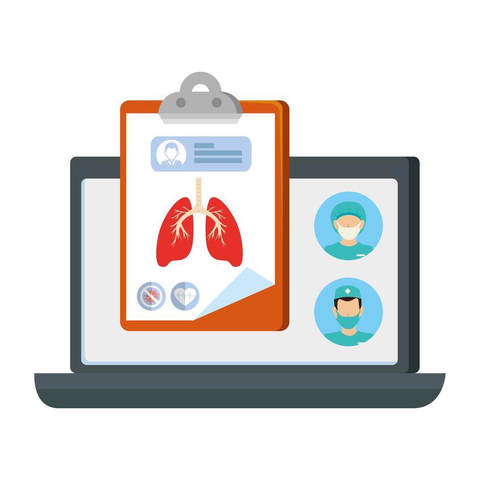 onlinemedicin med läkare, urklipp och bärbar dator vektor