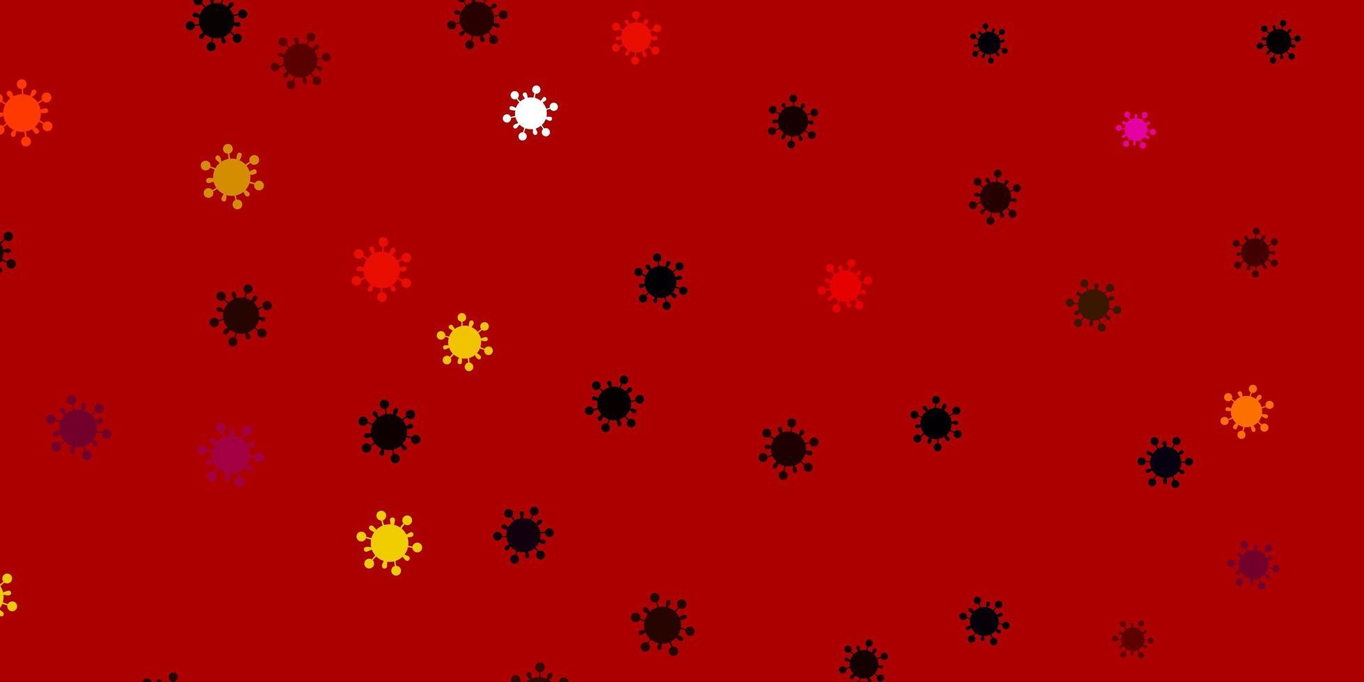 hellrosa, gelber Vektorhintergrund mit covid-19 Symbolen vektor