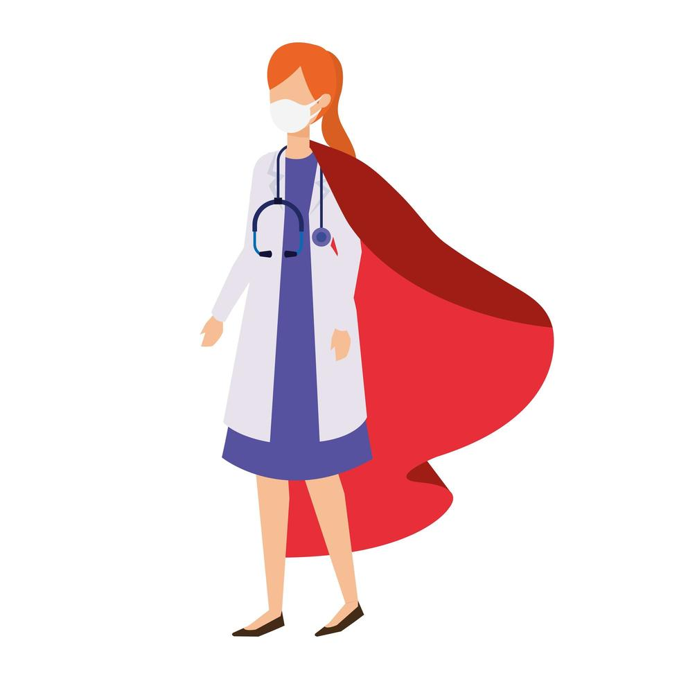 kvinnlig läkare som bär en ansiktsmask som en superhjälte vektor