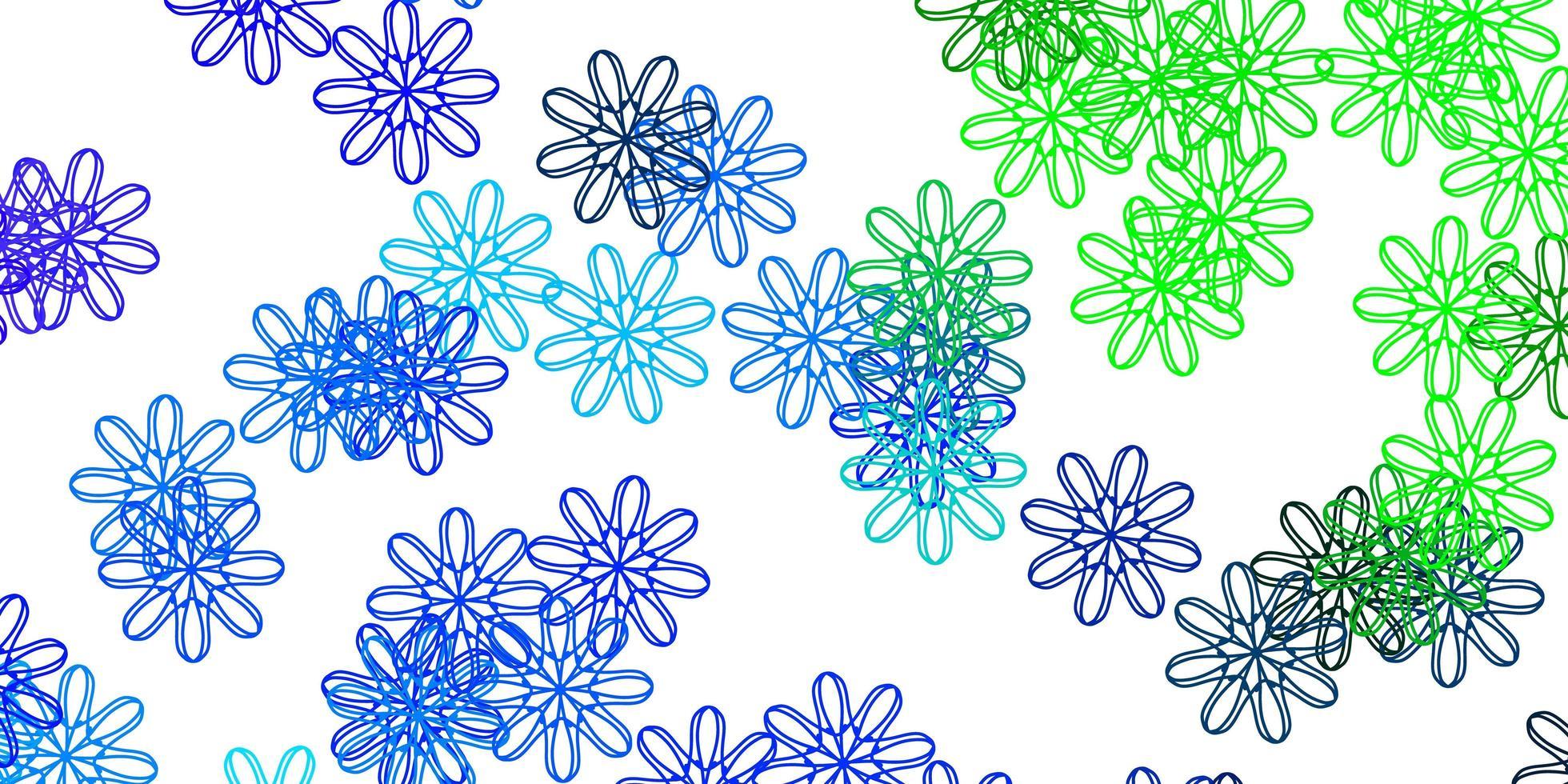 ljusblå, grön vektor naturlig layout med blommor.
