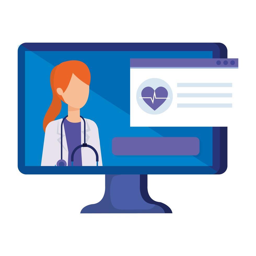 onlinemedicin med läkare och stationär dator vektor