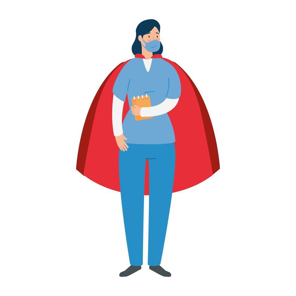 kvinnlig läkare som en superhjälte vektor
