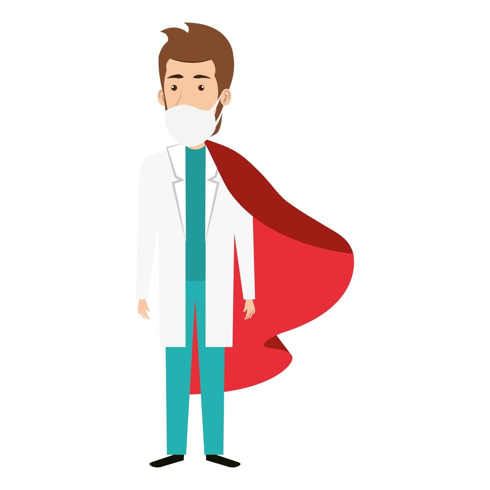 männlicher Arzt, der eine Gesichtsmaske als Superheld trägt vektor