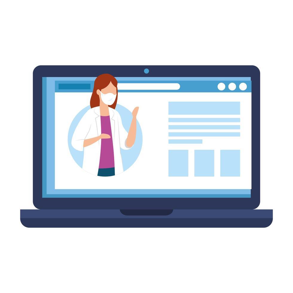 online-medicin med kvinnlig läkare på den bärbara datorn vektor
